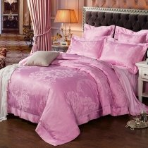 Hot Pink Glitter Paisley and Floral Print Elegant Romantic Luxury Jacquard Satin Full, Queen Size Bedding Sets for Girls
