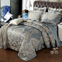 Cool Gray and Gold Rococo Pattern Elizabethan Style Vintage Shabby Chic Jacquard Satin Full, Queen Size Bedding Sets
