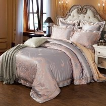 Taupe Gray and Gold Rococo Pattern Moroccan Style Shabby Chic Sequin Sophisticated Jacquard Satin Full, Queen Size Bedding Sets