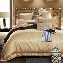Solid Gold Western Paisley Pattern Luxury Jacquard Satin Full, Queen Size Bedding Sets