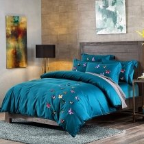 Teal Colorful Butterfly Pattern Simply Shabby Chic Luxury Hotel Style Egyptian Cotton Full, Queen Size Bedding Sets