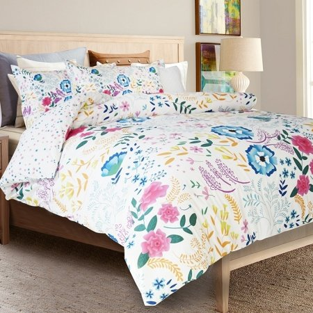 Bright Colorful Pastel Teal Green Pink Purple White Gold and Blue Tropical Hawaiian Floral Print Girls Twin, Full Size Bedding Sets