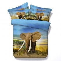 Kids Elephant Print 3D Design Jungle Animal Twin, Full, Queen, King Size Bedding Sets