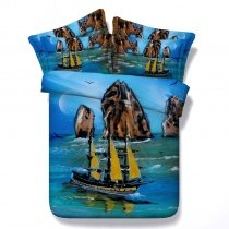 Brown Yellow and Blue Sailboat and Island Print Ocean Themed Nautical Style Twin, Full, Queen, King Size Bedding Sets