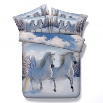 White Blue and Grey Horse Print Farm Animal Themed Winter Forest Scene Country Chic Twin, Full, Queen, King Size Bedding Sets