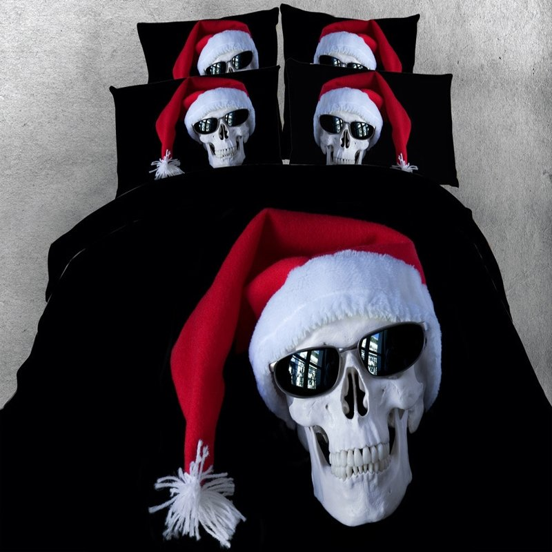 Punk Style Black White and Red Personalized 3D Skull Print Christmas Holiday Themed Twin, Full, Queen, King Size Bedding Sets