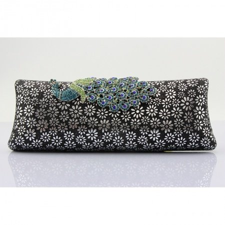 Black Patent Leather Flower Print Women Small Evening Clutch Bling Rhinestone Peacock Pattern Sequin Chain Crossbody Shoulder Bag