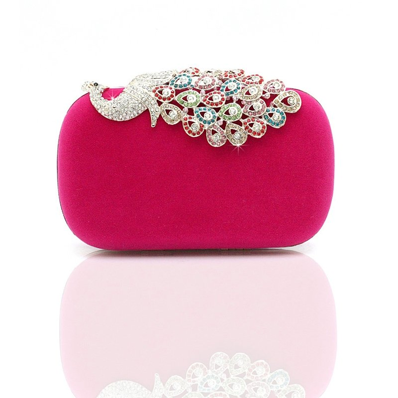 Soft Rose Red Velvet Bling Rhinestone Girls Small Evening Clutch Personalized Peacock Patter Magnetic Closure Chain Crossbody Shoulder Bag
