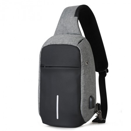 Durable Black and Silver Gray Oxford Men Crossbody Shoulder Chest Bag Vintage Anti Theft Casual Travel Hiking Cycling Sling Backpack
