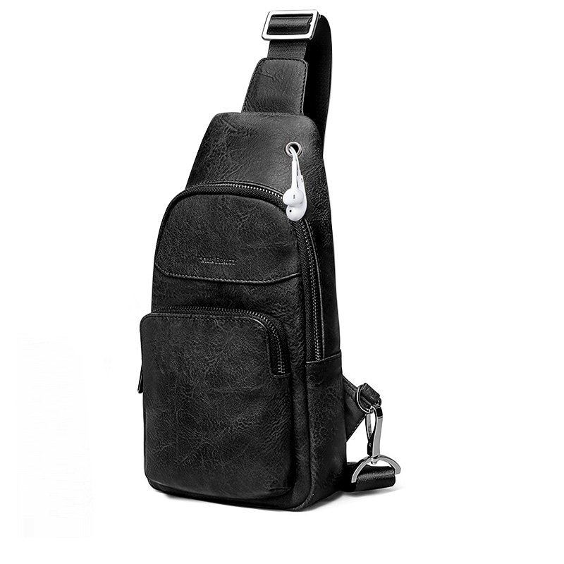 Black Distressed Waxed Genuine Cowhide Leather Sling Backpack Vintage Sewing Pattern Men Small Travel Hiking Crossbody Shoulder Chest Bag