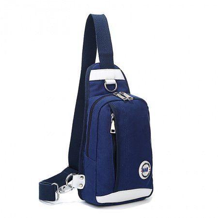 Royal Blue Oxford with White Leather Men Crossbody Shoulder Chest Bag Masculine Cool Sewing Pattern Zipper Casual Travel Sling Backpack