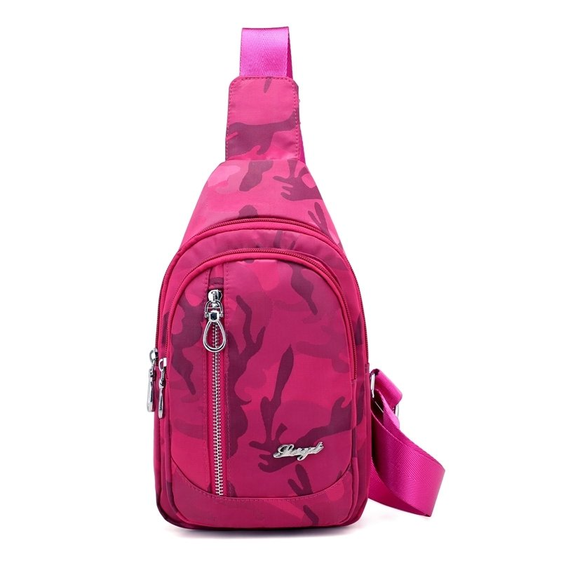 Sturdy Hot Pink Oxford Women Crossbody Shoulder Chest Bag Personalized Military Camouflage Print Sewing Pattern Sling Backpack