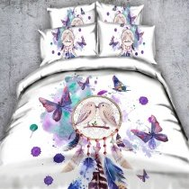 Pastel Purple Green Blue and White Colorful Paint Splatter Bird Feather and Butterfly Print Twin, Full, Queen, King Size Bedding Sets