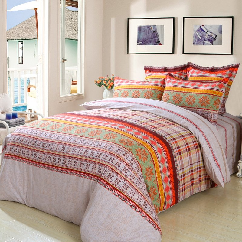 colorful mexican aztec stripe and snowflake pattern full queen size bedding sets. Black Bedroom Furniture Sets. Home Design Ideas