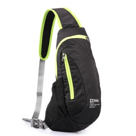 Durable Black Polyester with Green Trim Men Small Crossbody Shoulder Chest Bag Hipster Mesh Casual Travel Hiking Cycling Sling Backpack