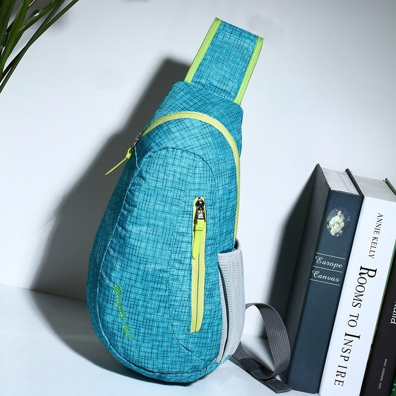Light Blue Nylon with Yellow Trim Boys Crossbody Shoulder Chest Bag Hipster Grid Plaid Print Travel Hiking Cycling Sling Backpack