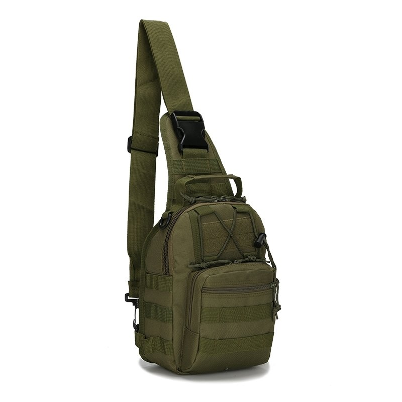 Olive Green Waxed Canvas Boys Tactical Crossbody Shoulder Chest Bag Vintage Sewing Pattern Small Travel Hiking Cycling Sling Backpack