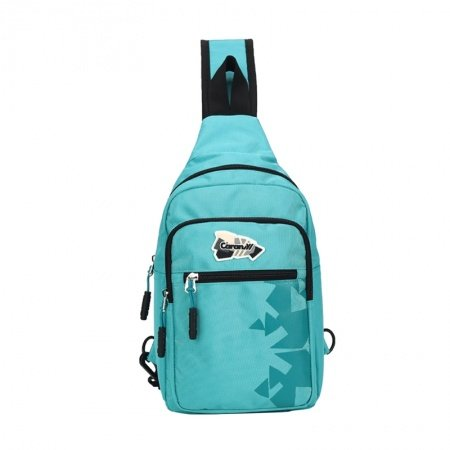 Turquoise and Teal Polyester Girls Crossbody Shoulder Chest Bag Geometric Triangle Print Large Travel Hiking Cycling Sling Backpack