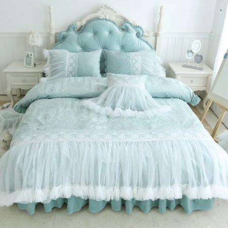 Girls Sage Green and White Lace Luxurious Romantic Feminine Twin, Full, Queen Size Bedding Sets