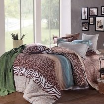 Brown and Teal Blue Zebra and Leopard (Cheetah) Print Sexy Animal Themed Full, Queen Size Bedding Sets