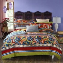 Bohemian Royal Blue Orange Brown Beige and Lime Green Rustic Western Paisley Floral Moroccan Medallion Print Full, Queen Size Bedding Sets