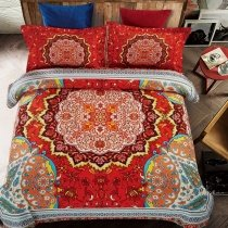Fancy Red Aqua Orange and Brown Mandala Bohemian Style Moroccan Themed Southwestern Full, Queen Size Bedding Sets