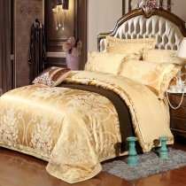 Luxury Gold Gothic Pattern Royal Style Noble Excellence Jacquard Satin Full, Queen Size Bedding Sets