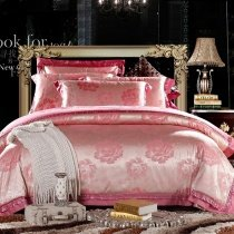 Trendy Rose Pink and Silver Asian Floral Pattern Oriental Style Girly Luxury Sequin Full, Queen Size Bedding Sets