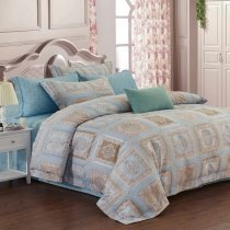 Light Blue and Khaki Indian Tribal Print Patchwork Moroccan Style Luxury Egyptian Cotton Full, Queen Size Bedding Sets