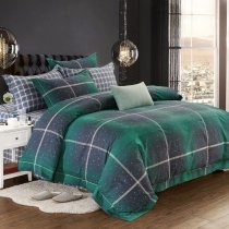 Deep Green Black and Gray Plaid Print Masculine Old Fashion Shabby Chic Traditional Full, Queen Size Bedding Sets