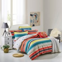 Orange Yellow Black and Turquoise Colorful Trippy Bohemian Style Hip-hop Modern Chic Unique Full, Queen Size Bedding Sets