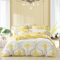 Boutique Trellis Print Rococo Pattern Western Style Full, Queen Size Bedding Sets in Yellow Gray and White