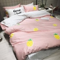 Fashion Dusty Pink Yellow and Green Pineapple Print Stylish Funky Twin, Full Size Bedding Sets for Girls