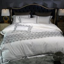 Romantic Shabby Chic Black White and Gray Vintage Victorian Lace Noble Excellence Villa Jacquard Satin Full, Queen Size Bedding Sets