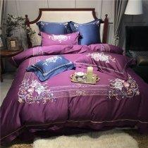Grape Purple Border Embroidered Rose Flower Vintage Romantic Shabby Chic Luxury Villa Elegant Feminine Full, Queen Size Bedding Sets