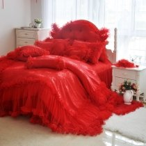 Frilly and Fluffy Red Lace Design Gathered Bedspread Twin, Full, Queen Size Bedding Sets
