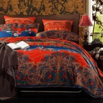 Chinese Red Purple and Peacock Blue Tribal Print Bohemian Chic Full, Queen Size Bedding Sets