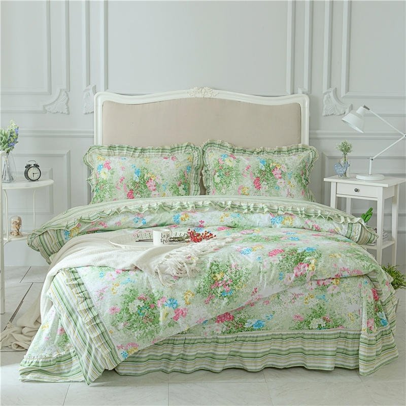 Lime Green And Pink Bedding: Beautiful Lime Green Beige Blue Gold And Hot Pink Floral