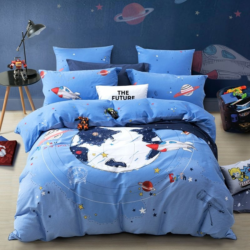 World Map, Rocket and PlaPrint Adventure Boys Full, Queen Size