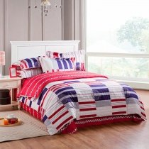 Navy Blue White and Red Kids Plaid and Stripe Print European Style Full, Queen Size Bedding Sets