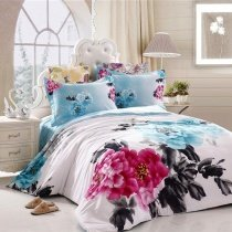 Aqua Blue Black Red and White Oriental Inspired Design Ink Painting Peony Print Full, Queen Size Bedding Sets