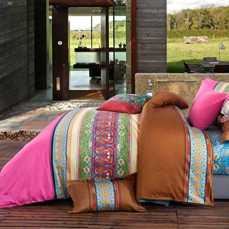 Pink Purple and Green Chic Circles and Tribal Print Striped 100% Cotton Full, Queen Size Bedding Sets