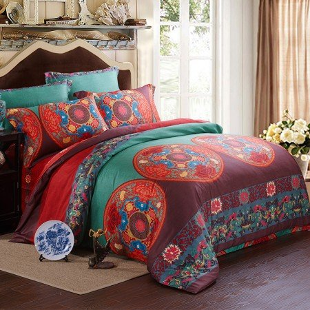 Olive Green and Dark Red Chic Circles and Flower Print 100% Cotton Full, Queen Size Bedding Sets