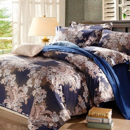 Navy Blue and Tan Jungle Safari Theme Retro Style Unique 100% Egyptian Cotton Full, Queen Size Bedding Comforter Cover Sets