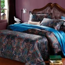 Teal and Black Dark Color Western Paisley Park Pop Print Bohemian Chic 100% Egyptian Cotton Full, Queen Size Bedding Comforter Cover Sets