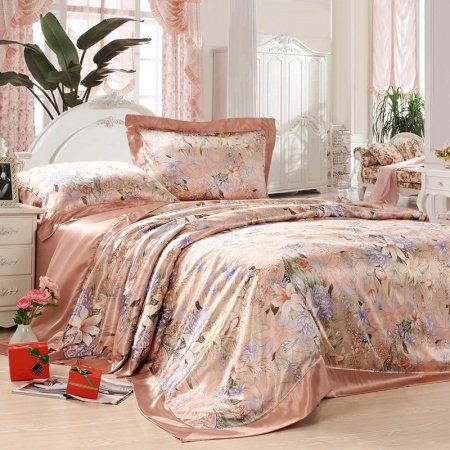 Pink and Colorful Asian Chinese Inspired Lily Blossom Print Rustic Chic 100% Mulberry Silk Full, Queen Size Bedding Sets