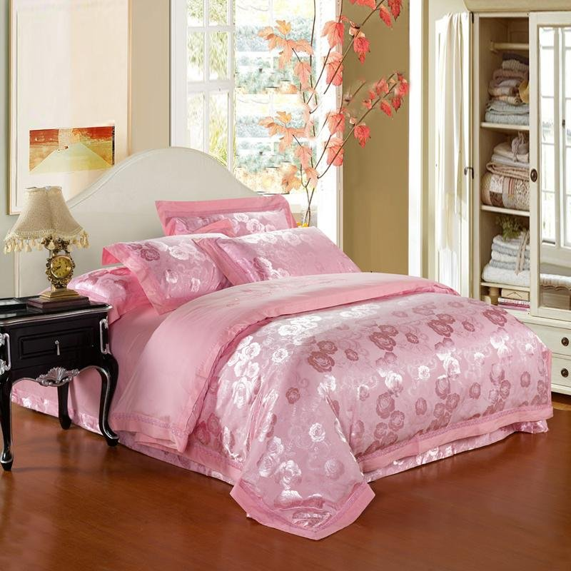 Solid Pink Pure Colored Central Park Garden Scene Yorkshire Rose Print Jacquard Design Full, Queen Size Bedding Sets
