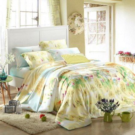 Light Yellow Green and Blue Rustic Chic Beautiful Town Full, Queen Size 100% Soft Modal Tencel Bedding Sets