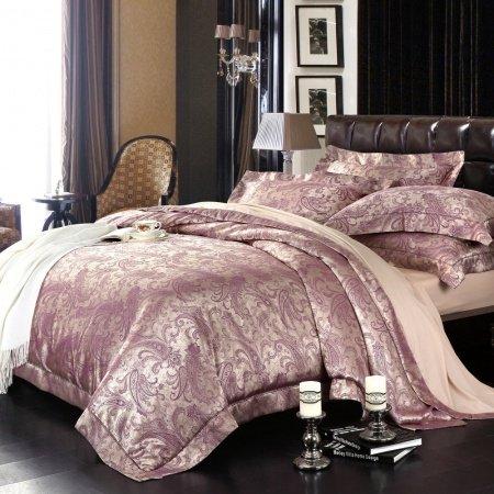 Royal Purple Paisley Park Print Retro Style Jacquard Design Softest Bedding Sets