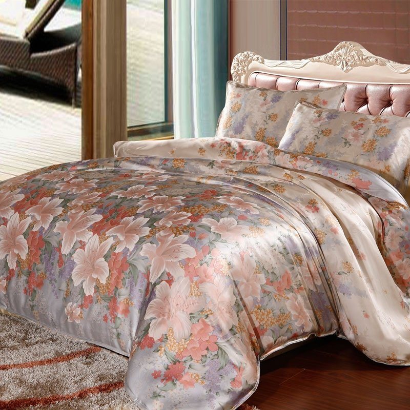 Light Blue and Pink Antique Asian Lily 100% Mulberry Silk Full, Queen Size Bedding Sets